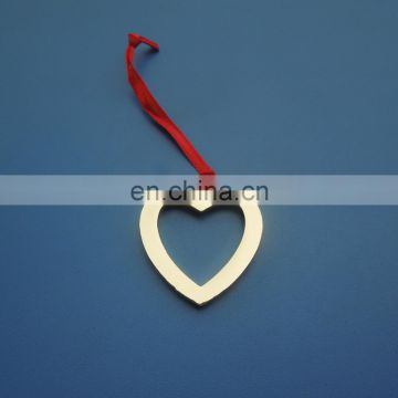 plating glossy gold heart shape metal decorative pendant dangler charm for Christmas Decoration