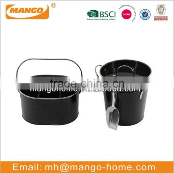 Black color galvanized beer bottle holder bucket with stainless steel metal frame