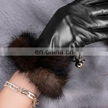 High quality mink fur stripe for leather gloves cuff wholesale