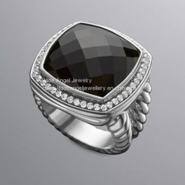 Fine Jewelry 925 Sterling Silver 17mm Black Onyx Albion Ring