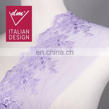 2015 new fashion purple organza lace embroidery