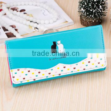 Stock Wholesale Black Pink Fuschia Lovely Cute Cat Printing Hasp PU Leather Women Lady Female Wallet Leather