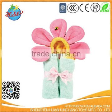 hot sale pretty flowers hooded baby bathrobe