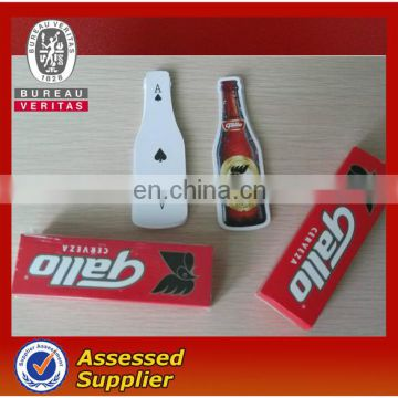 Advertising playing card with bottle shape