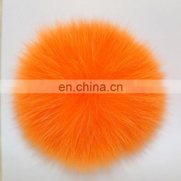 Car keychain fur pompon fox fur gift accessory hand made