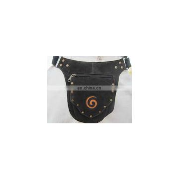Leather om Design Waist Hip Belt Bag with Pockets pouch Utility Backpack funky hip hope fanny pack belt traveling bum party