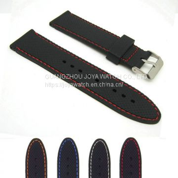 18 20 22 24mm Textured Stitch Silicone Rubber Watch Band Strap