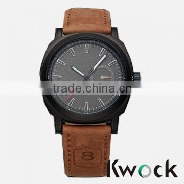 Fashion Brown Leather Band 1 Arabic Number and Trapezoids Hour Marks Men Curren Watch