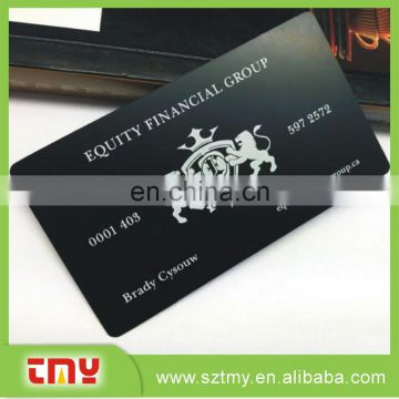 Popular design metal card personalized black metal card matte metal card