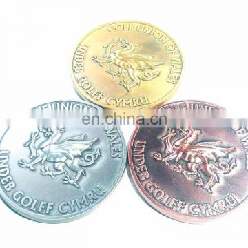 3D Different Antique Plating Gold Silver Copper DRAGON MEDAL