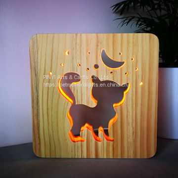 Carved Fancy and Warm Pets Personal Memorial Gifts Wooden LED Cat and Moon Light