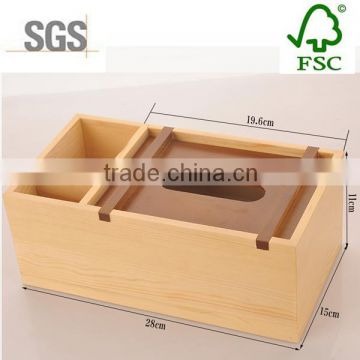 Eo-friendly pine wood multi-function tissue storage box for sale