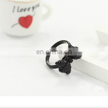 Ancient black rhinestone ring bowknot adjustable ring office lady style ring