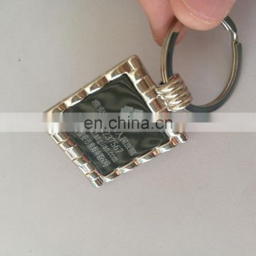 custom logo laser printing square shape metal keychain for business gift