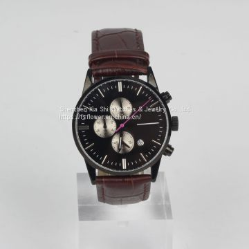 Japan Movt Chronograph Miyota OS10 Leather Strap Quartz Watch Men