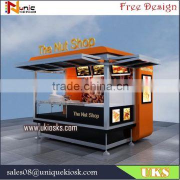 outdoor food kiosk 3m by 3m fast food kiosk / snack kiosk / nut kiosk  design for sale