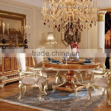 Luxury Vitoria Style Gold Leaf Dining Room Furniture Baroque Palace Marquetry Round Dinning Table