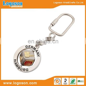 Round metal coin engraved keyring souvenir metal keychain