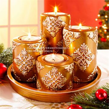 European-style retro creative set with four-ceramic candlestick Christmas decoration household crafts decoration items