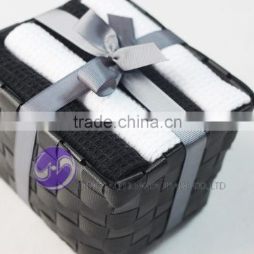China Manufacturer wholesale yarn-dyed waffle weave cotton gift packaging kitchen towel