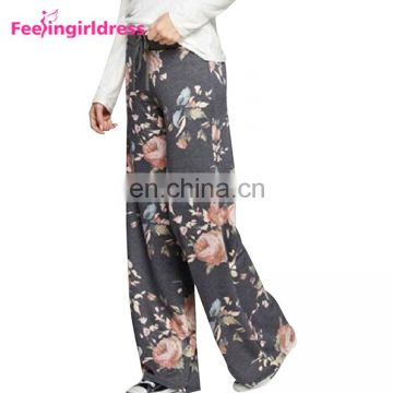 Wholesale Top Quality Wide Leg Gray Printing Floral Pants Teens Sexy Harem Pants