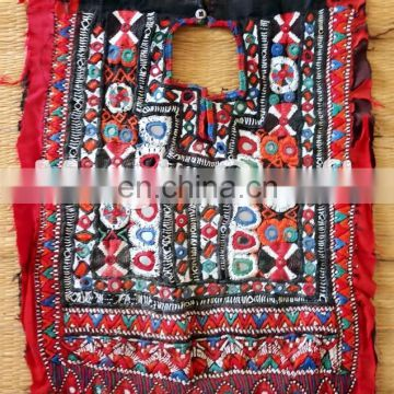 Mirror With Thread Embroidery Work Patch - Vintage Banjara neck yoke patch-Designer Gypsy Patchwork Beaded Patches