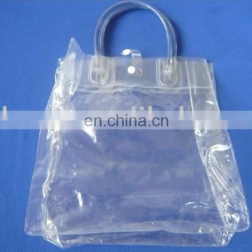 customized biodegradable transparent pvc plastic bag with hand strap