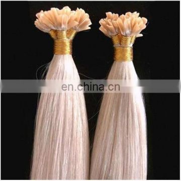 Factory Price Top Grade Silky Straight 613# Blonde Color UTip Hair Extension Cuticle Remy Brazilian Nail Tip Hair Extension
