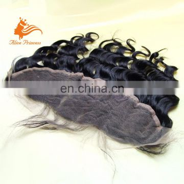 Pure Hand Tied Factory Price Loose Wave Human Hair Brazilian Lace Frontal Closure 13x4