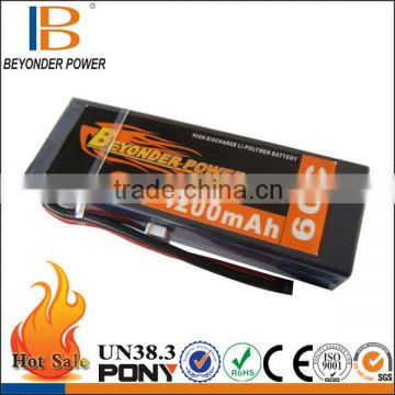 Hard case 14.8V 4200mAh 60C 752540 rc lithium battery pack for RC car, bare leads or deans