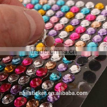Custom rhinestone sticker sheet colorful crystal pearl bling sticker self-adhesive acrylic sticker for car gift decoration