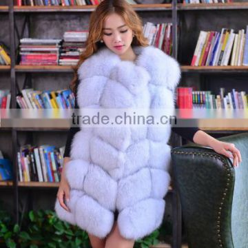 CN-R-1 Russian long fur vest real fox vest for women sleeveless fur vest