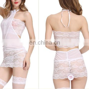 Women Lingerie Set Lace Babydoll Mesh Chemise Halter neck Teddy tube top Sexy Nightie