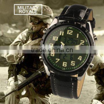 MR009 Brand New Green Color face Mens Man analog digital multi-function sport leather wrist watch