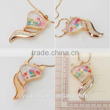 Fashion new arrival charms color crystal glass fox shape bottle pendant necklace P0012