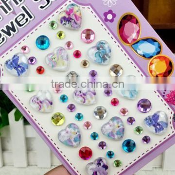 High quality wholesale custom children DIY toy self adhesive acrylic craft scrapbooking gems stone sticker