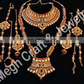 2015 Bridal Jewelry Set-One Gram Gold Plated Wedding Wear Jewellery-latest in fashion necklace sets-Indian Ethnic jewelry Set