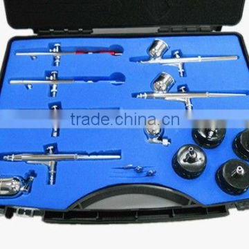 PR-812 Professional Airbrush Set with 6pcs Airbrush,4pcs Glass Jar,2pcs Metal Cup