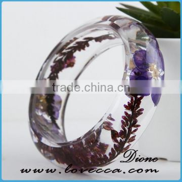Personalized Engraved Gift dried flowers resin bangle bracelet with real plants