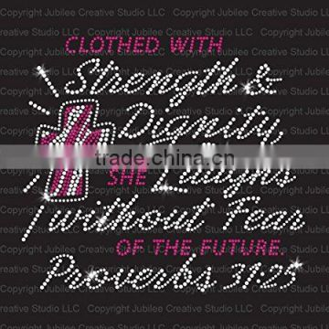 Clothed With Strength Iron On Rhinestone Crystal T-Shirt Transfer by Jubilee Rhinestones