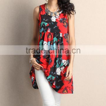 Newest Women Dresses With Red Floral Empire-Waist Sleeveless Tunic Dress Women Flower Dress Women Clothes GD90426-36