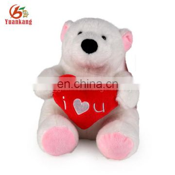 Shenzhen supplier plush soft toy 30cm I Love You stuffed polar bear
