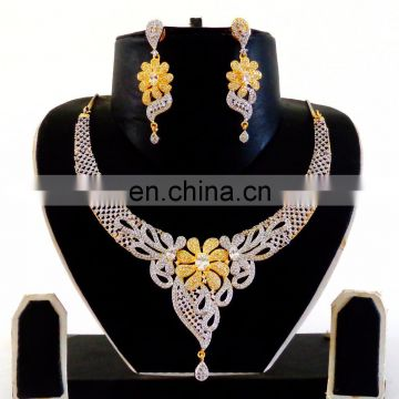 Indian Cubic Zirconia Necklace set-American Diamond Gold Plated Necklace set - Wholesale CZ Jewellery - Party wear Necklace set
