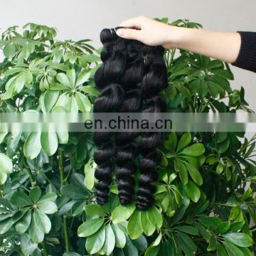 Wholesale 8A grade loose wave 1b color human hair weft 100% virgin brazilian hair