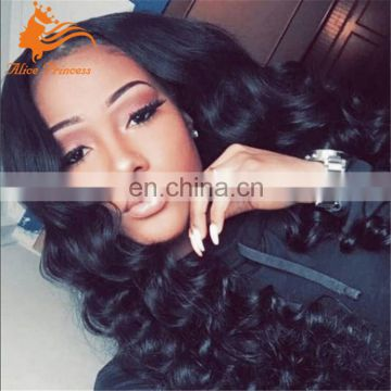 18 inch natural color deep wave brazilian virgin remy human hair wig