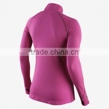 Women Half-Zip fitness tights Women's Running Tops ladies stretch blank sports t-shirt                                                                         Quality Choice