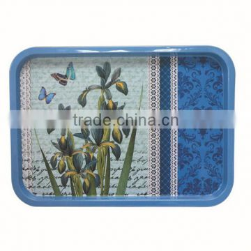 Tin metal tray with flower pattern for Vendor tray