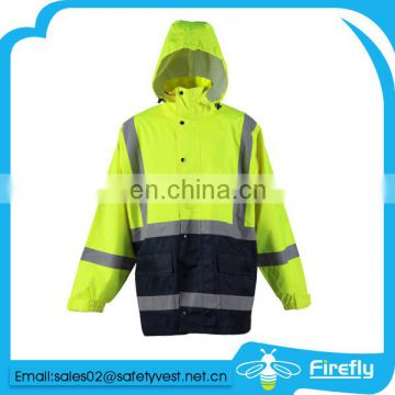 orange safety rain jacket with reflector
