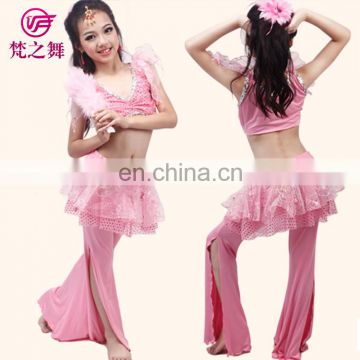 ET-130 Hot sale high milk silk sexy children kids practice belly dance costume including top and pant