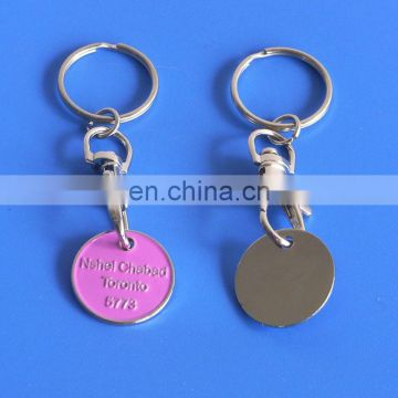 hot sale Canadian one coin pink market shopping cart enamel design trolley coin key chain
